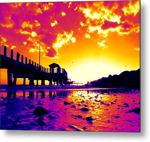 Pier Metal Print featuring the digital art Heat Wave Sunset by Laura Holt