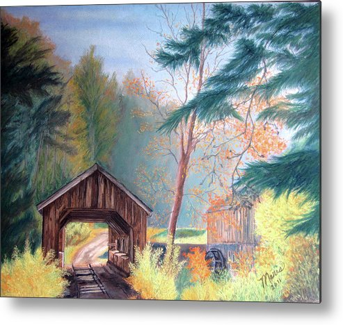 Fall Metal Print featuring the pastel Hints Of Fall by Maris Sherwood