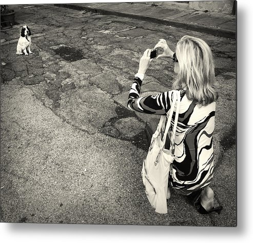 Woman Metal Print featuring the photograph Lady And A Dog by Ercole Gaudioso
