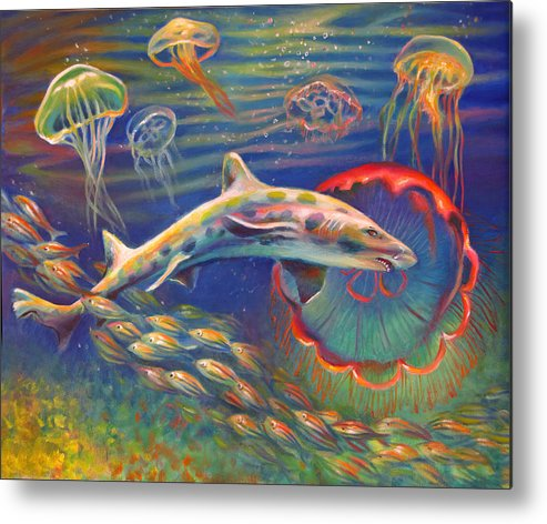 Leopard Shark Metal Print featuring the painting Leopard Shark And Jellyfish by Nancy Tilles