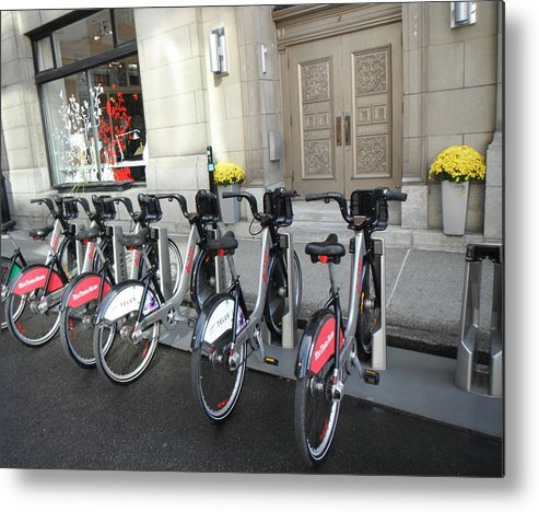 Bicycles Metal Print featuring the painting Montreal Bicycles by Rosie Brown