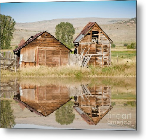 Fine Art Metal Print featuring the photograph Reflection Of An Old Building by Donna Greene