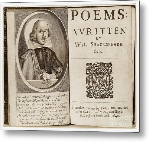 1640 Metal Print featuring the photograph Shakespeare: Poems by Granger