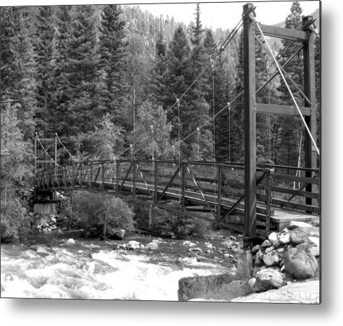 Black And White Metal Print featuring the photograph Silverton Bridge by Amara Roberts