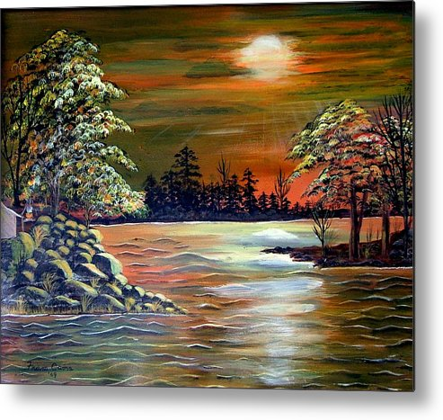 Landscape--lake Metal Print featuring the painting Sunset On Lake Windsor by Fram Cama