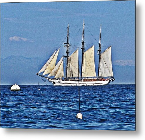 Blue Water Metal Print featuring the photograph Tall Ship Blues by Lauren Serene