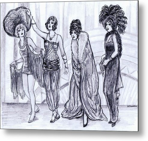 Nostalgia Metal Print featuring the drawing Vamps by Mel Thompson