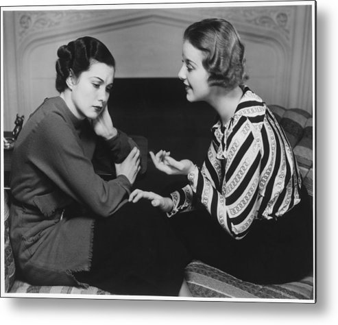 25-29 Years Metal Print featuring the photograph Woman Consoling Friend At Fireplace, (b&w) by George Marks