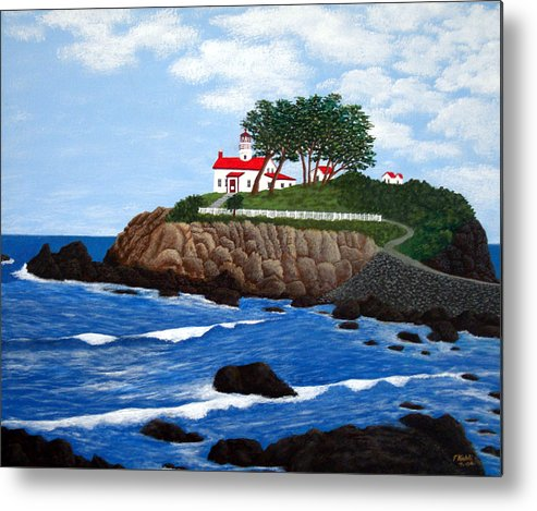 Lighthouse Paintings Metal Print featuring the painting Battery Point Lighthouse by Frederic Kohli