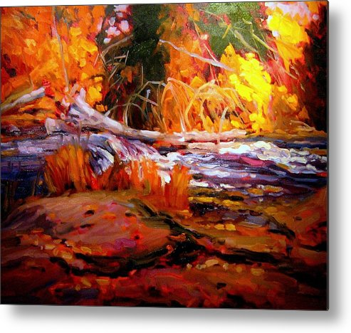 Landscape Paintings Metal Print featuring the painting Cascade by Brian Simons