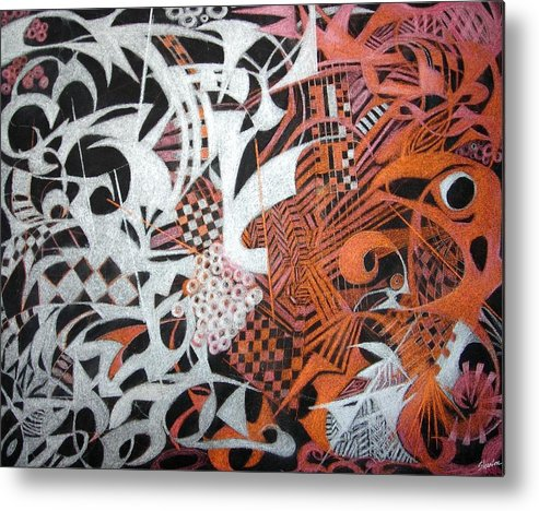 Abstract Metal Print featuring the mixed media Cheating Death by Ruth Sharton