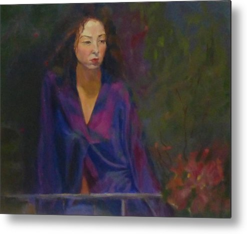 Japanese Metal Print featuring the painting He Is Gone by Irena Jablonski