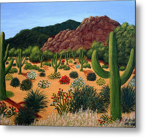 Landscape Paintings Metal Print featuring the painting Saguaro Desert by Frederic Kohli