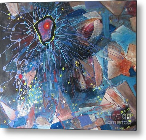 Abstract Paintings Metal Print featuring the painting Storm At Sea by Seon-Jeong Kim