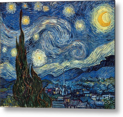 1889 Metal Print featuring the painting Van Gogh Starry Night by Granger