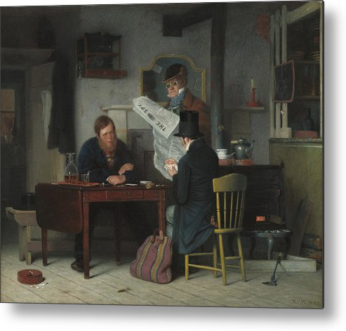 Art Metal Print featuring the painting Waiting For The Stage by Richard Caton Woodville