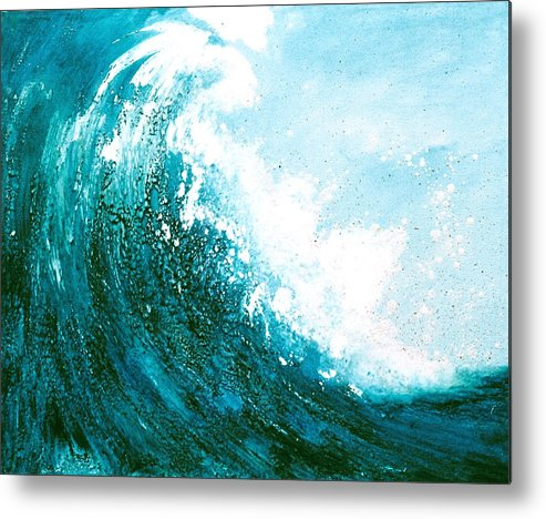 Seascape Metal Print featuring the mixed media wave I by Martine Letoile