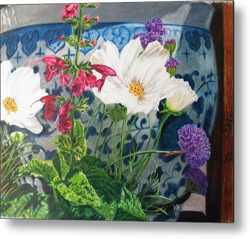 Flowers Metal Print featuring the painting Cosmos by Karen Ilari