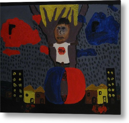 Stop Metal Print featuring the painting Stop It by Frankie Graham
