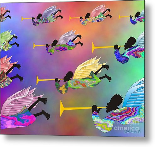 Angels Metal Print featuring the digital art A Band Of Angels by Walter Oliver Neal