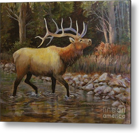 Elk Metal Print featuring the painting A Scent On The Air by JoAnne Corpany