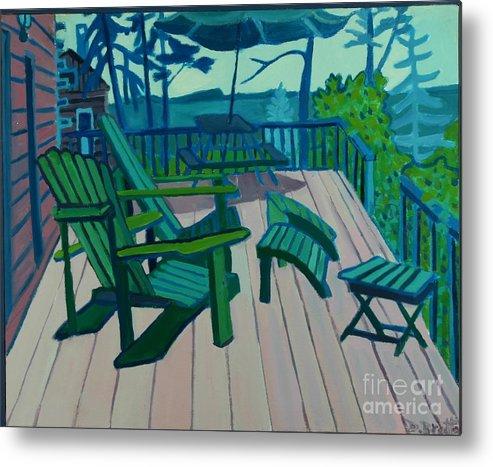 Ocean Metal Print featuring the painting Adirondack Chairs Maine by Debra Bretton Robinson