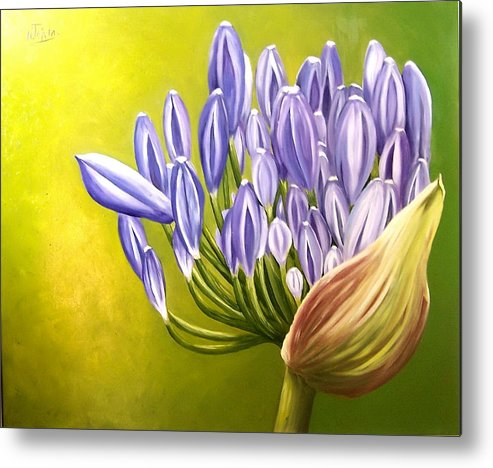 Flower Metal Print featuring the painting Agapanthos by Natalia Tejera