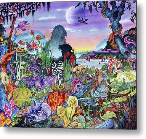 Alien Landscape Metal Print featuring the painting Alien Landscape by Liz Baker