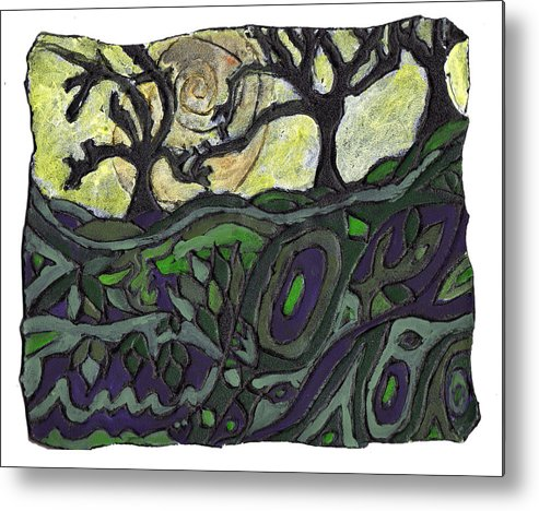 Woods Metal Print featuring the painting Alone In The Woods by Wayne Potrafka