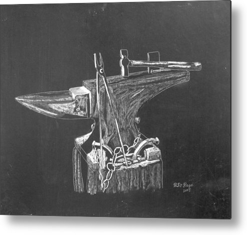 Anvil Metal Print featuring the painting Anvil by Richard Le Page