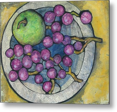 Apple Metal Print featuring the painting Apple And Grapes by Barbara Nye