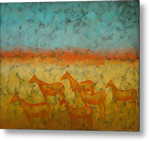 Landscape Metal Print featuring the painting At Dawn by Aliza Souleyeva-Alexander