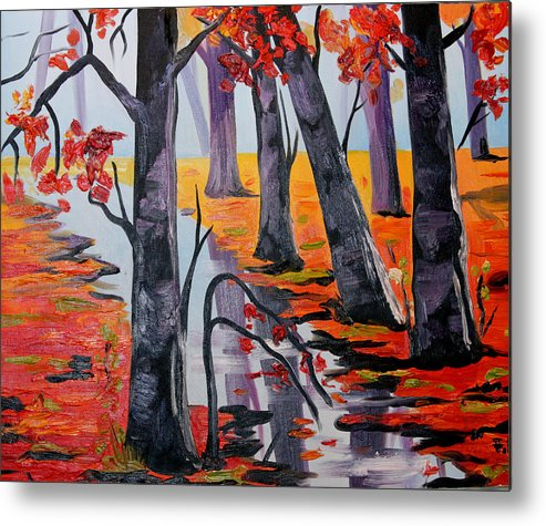 Autumn Metal Print featuring the painting Autumn by Fabjola Bramo