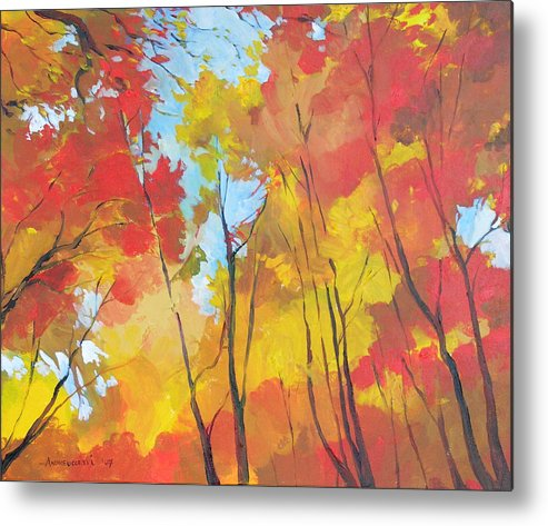 Landscape Metal Print featuring the painting Autumn Leaves by Alessandro Andreuccetti