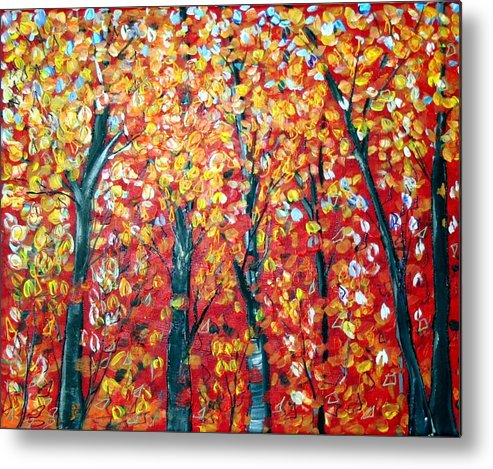 Landscape Metal Print featuring the painting Autumn by Luiza Vizoli