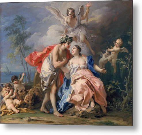 Bacchus Metal Print featuring the painting Bacchus And Ariadne by Jacopo Amigoni