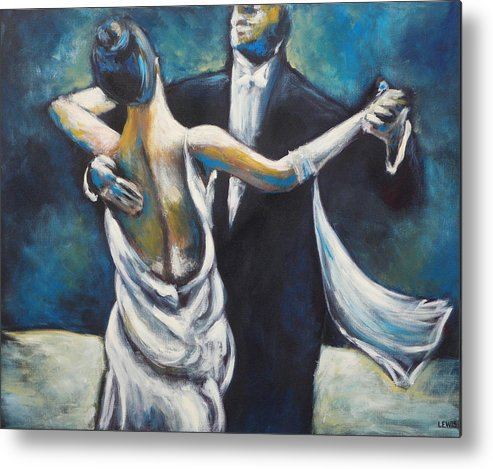 Dance Metal Print featuring the painting Ballroom Dancers by Ellen Lewis