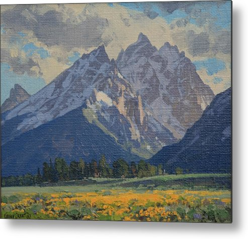 Landscape Metal Print featuring the painting Balsamroot In Bloom by Lanny Grant