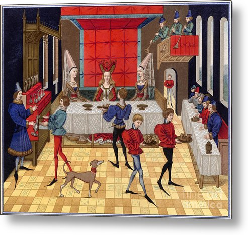 15th Century Metal Print featuring the photograph Banquet, 15th Century by Granger