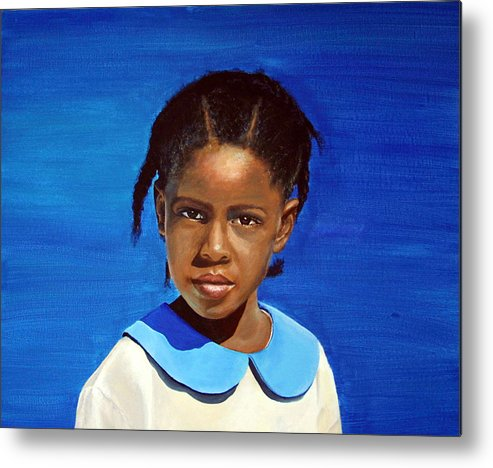 Portrait Metal Print featuring the painting Barbuda School Girl by Fiona Jack