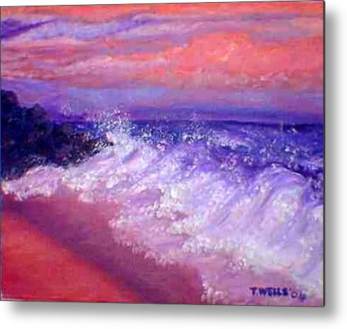 Beach Metal Print featuring the painting Beach At Sunrise by Tanna Lee M Wells