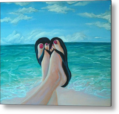 Beach Metal Print featuring the painting Beach Day by Devon Ingram