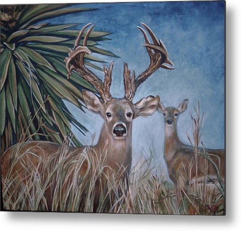 Deer Metal Print featuring the painting Berry Buck And Doe by Diann Baggett