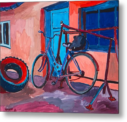 Bicycle Metal Print featuring the painting Bicycle by Vitali Komarov