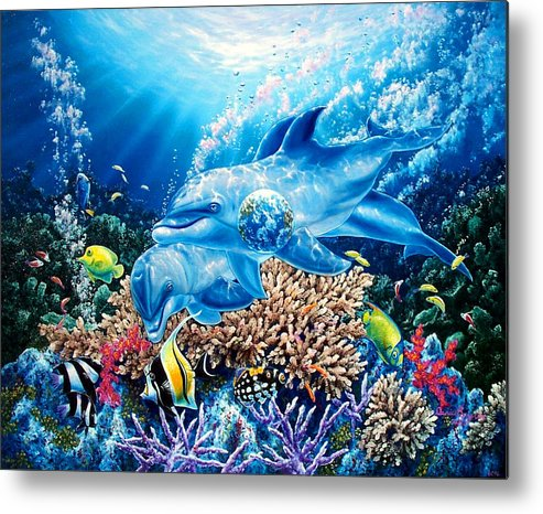 Dolphin Metal Print featuring the painting Birthright by Daniel Bergren