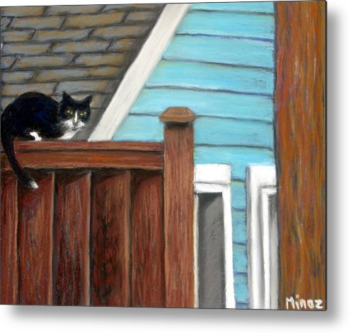 Cat Metal Print featuring the painting Black Alley Cat by Minaz Jantz