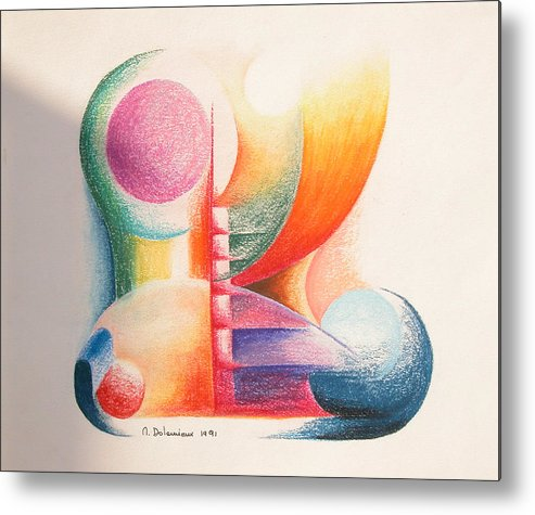 Abstract Metal Print featuring the drawing Boulets by Muriel Dolemieux