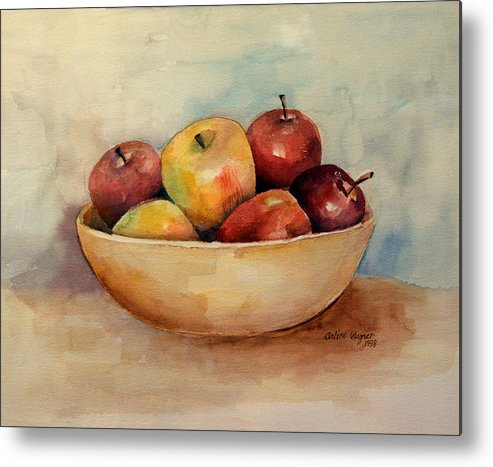 Apple Metal Print featuring the painting Bowl Of Apples by Arline Wagner
