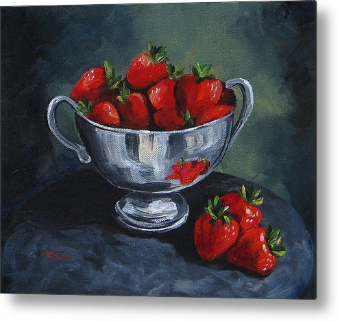 Strawberries Metal Print featuring the painting Bowl Of Strawberries by Torrie Smiley