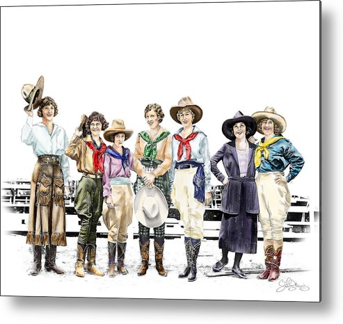 Cowgirl Metal Print featuring the painting Buckin Horse Suffragettes by Shirley Morris
